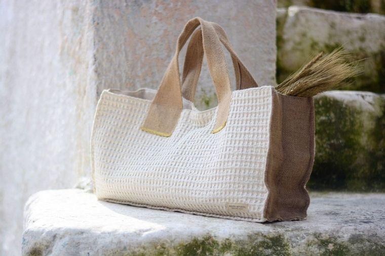 Roomy Textured Cotton/Linen Handbag (Handmade in Greece)
