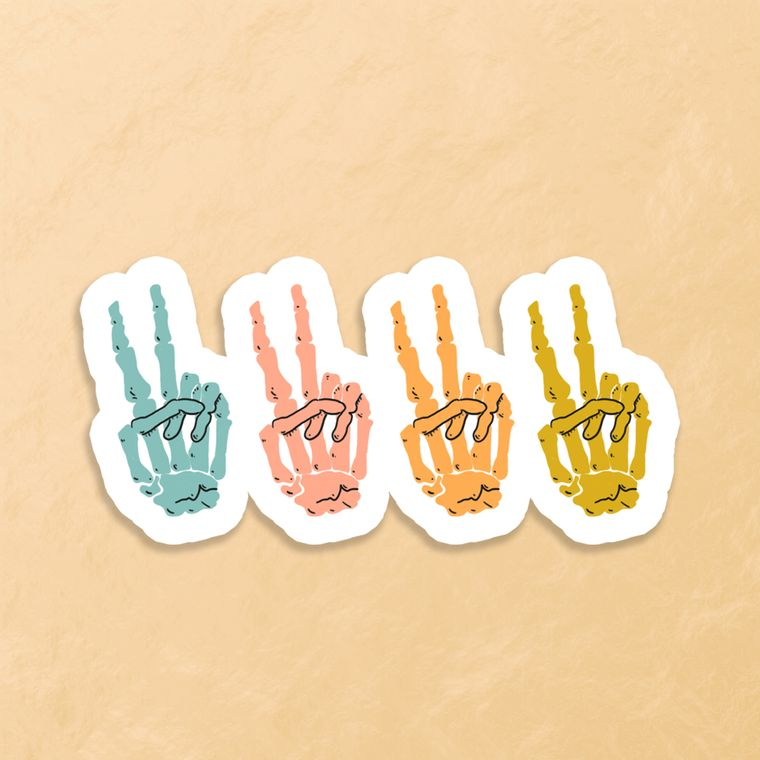 Peace Sign Skeleton Sticker