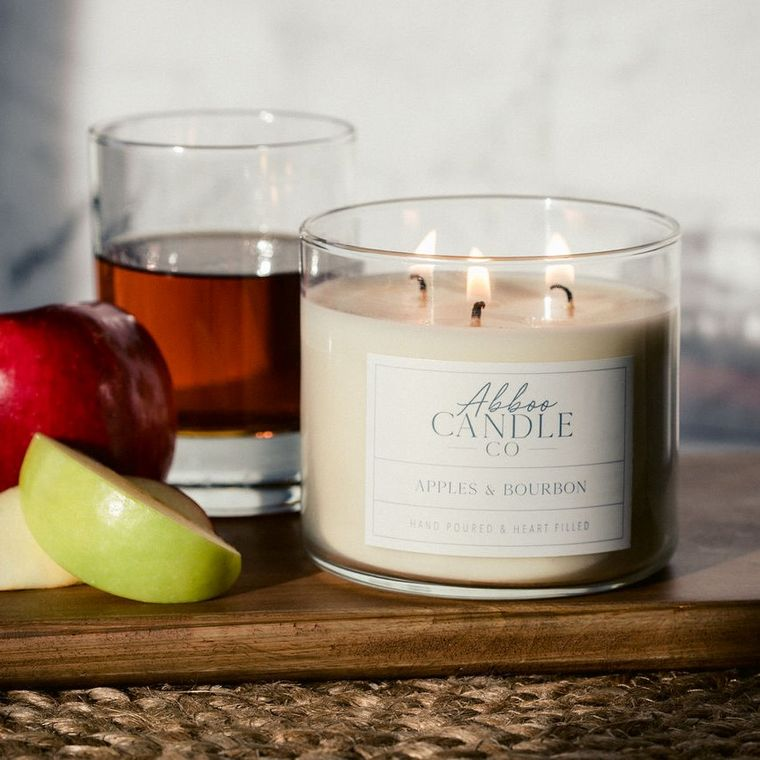 Apples & Bourbon 3 Wick Soy Candle by Abboo Candle Co