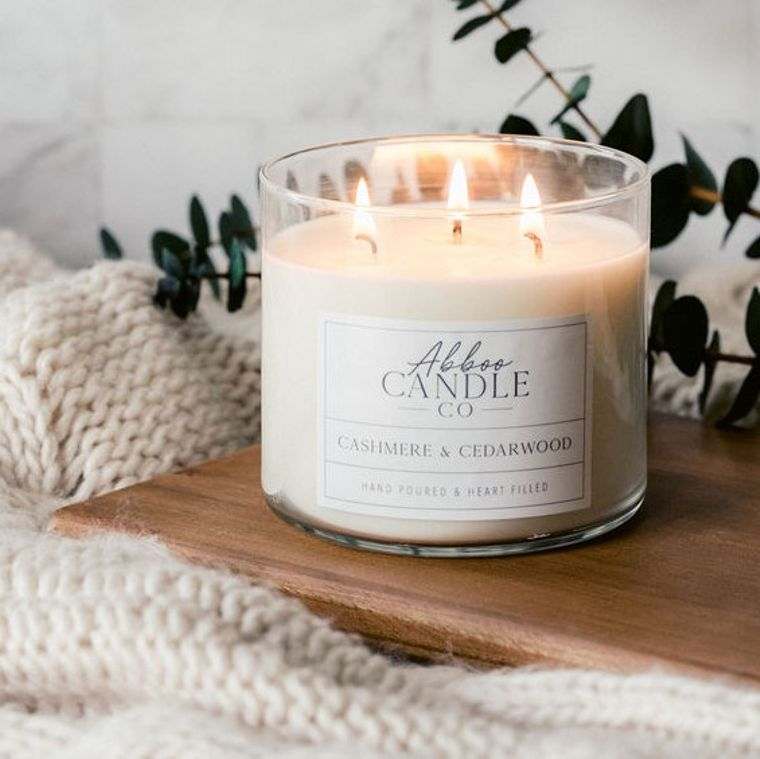 Cashmere & Cedarwood 3 Wick Soy Candle by Abboo Candle Co