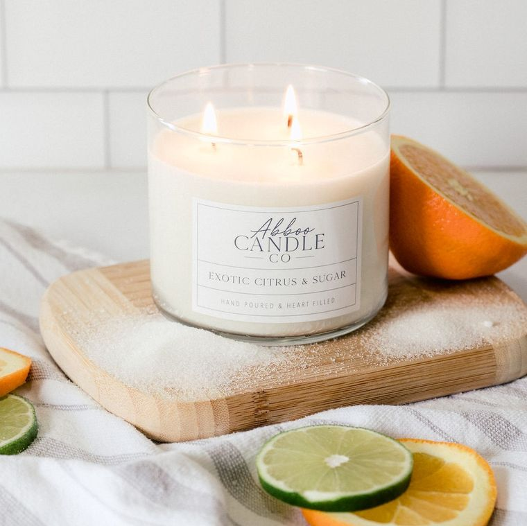 Exotic Citrus & Sugar 3 Wick Soy Candle by Abboo Candle Company