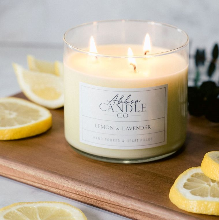 Lemon & Lavender 3 Wick Soy Candle by Abboo Candle Co