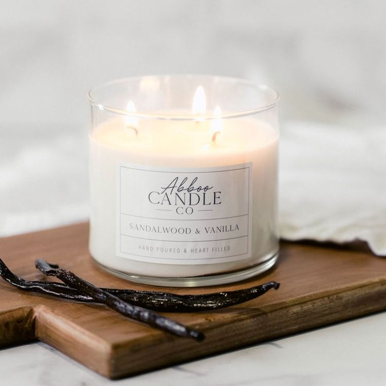 Sandalwood & Vanilla 3 Wick Soy Candle by Abboo Candle Co