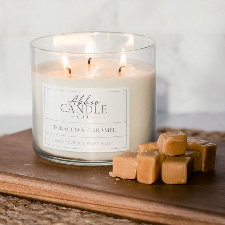 Tobacco & Caramel 3 Wick Soy Candle by Abboo Candle Co
