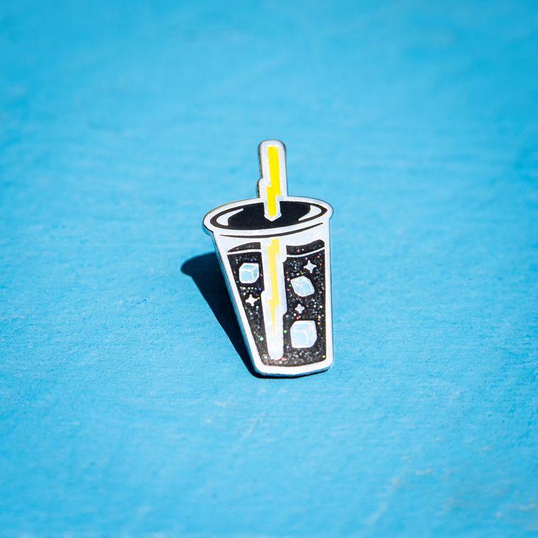 Liquid Lightning Iced Coffee Pin (glows in the dark!)