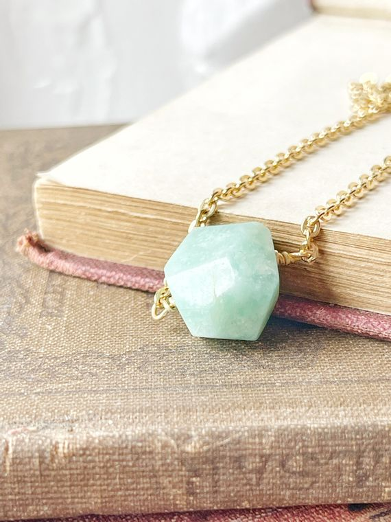 Amazonite Nugget Necklace in Silver or Gold