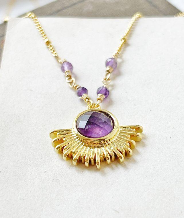 Amethyst Sun Necklace
