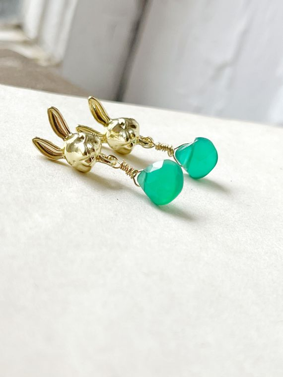 Bunny Stud Earrings with Natural Green Onyx Dangle