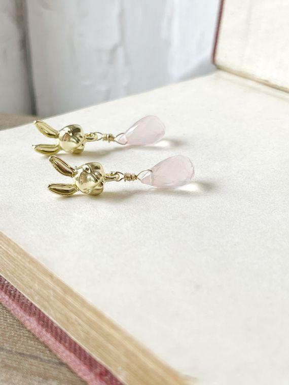 Bunny Stud Earrings with Rose Quartz Drops