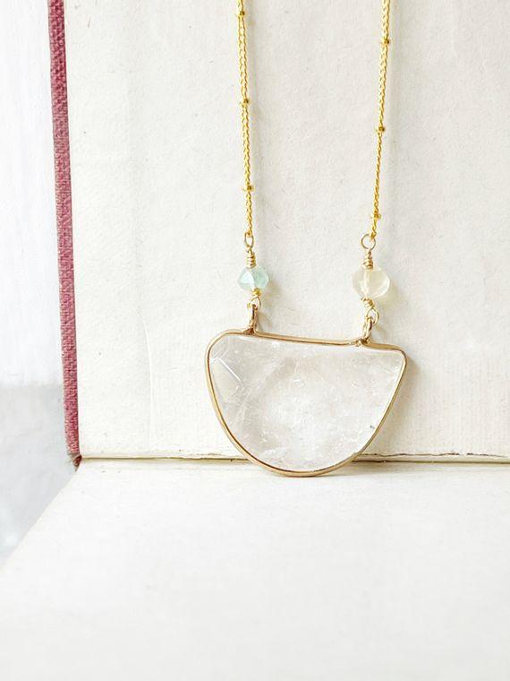 Crystal Quartz & Natural Aquamarine Necklace