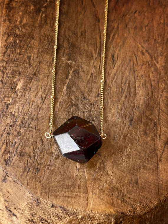 Garnet Nugget Necklace