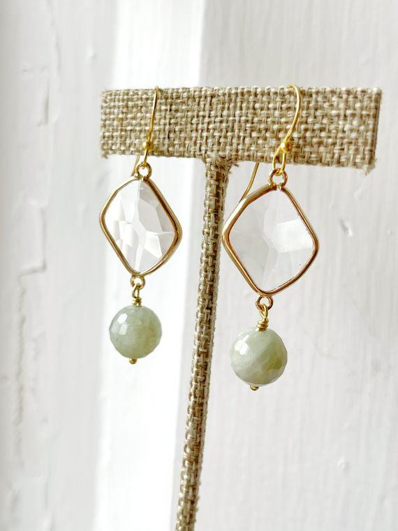 Glass & Aquamarine Earrings