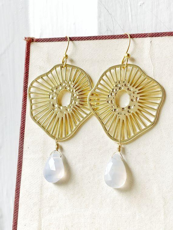 Gold Burst & Blue Lace Agate Earrings