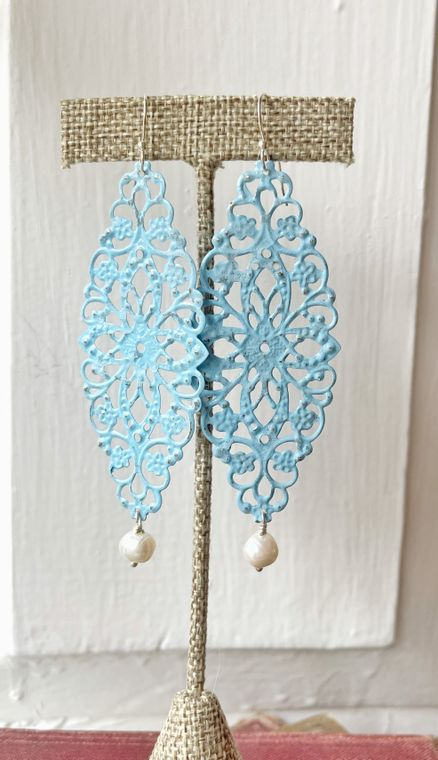 Hand-Painted Blue Filigree Earrings with Freshwater Pearls
