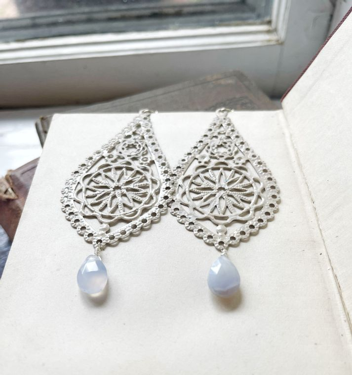 Hand-Painted Cream Filigree Earrings with Blue Lace Agate