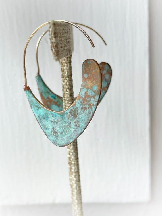 Hand-Painted Patina Half Hoop Earrings