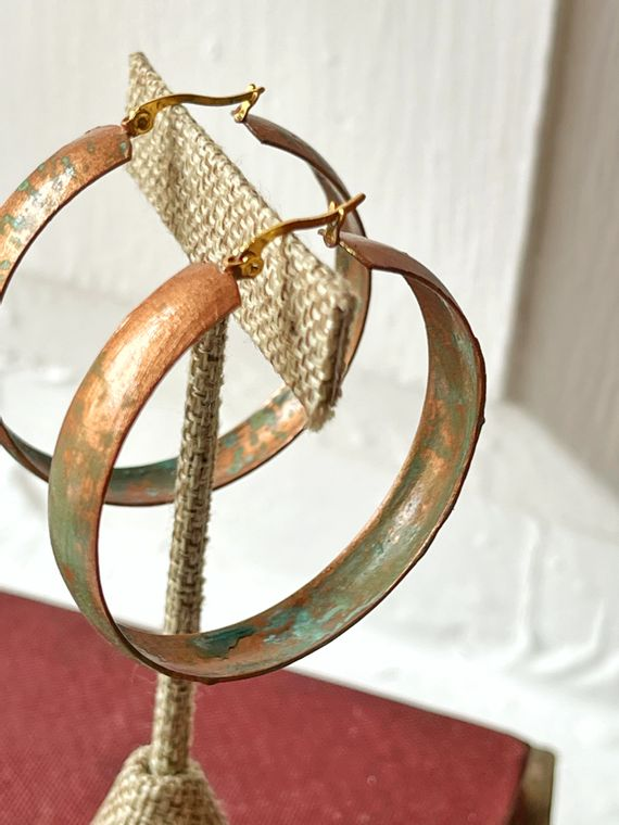 Hand-Painted Patina Hoop Earrings