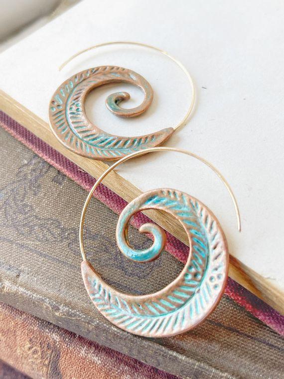 Hand-Painted Patina Swirl Earrings