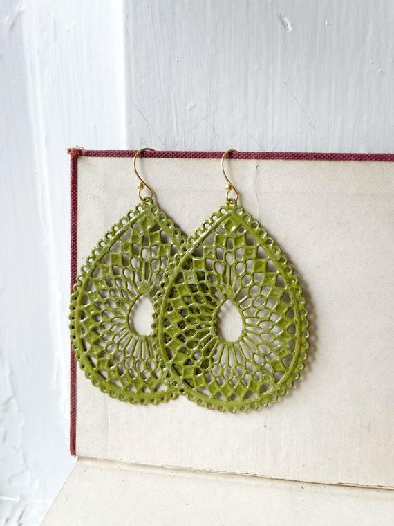 Hand-Painted Peridot Filigree Earrings