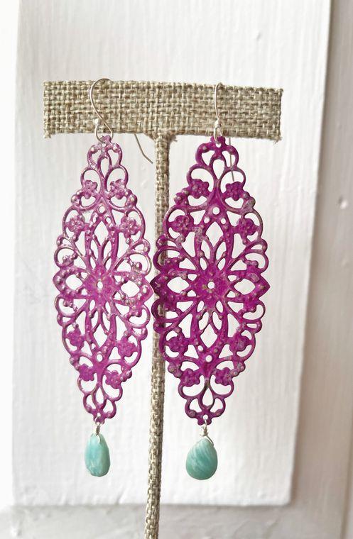 Hand-painted Raspberry & Amazonite Earrings