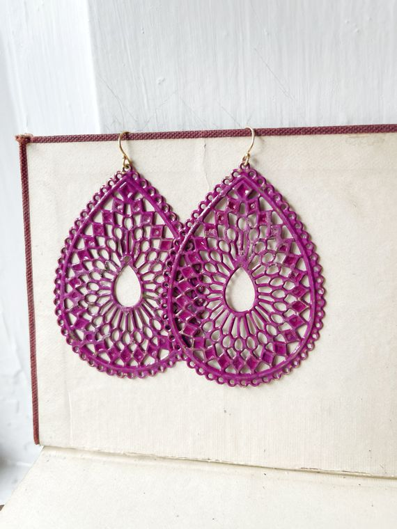 Hand-Painted Raspberry Filigree Earrings