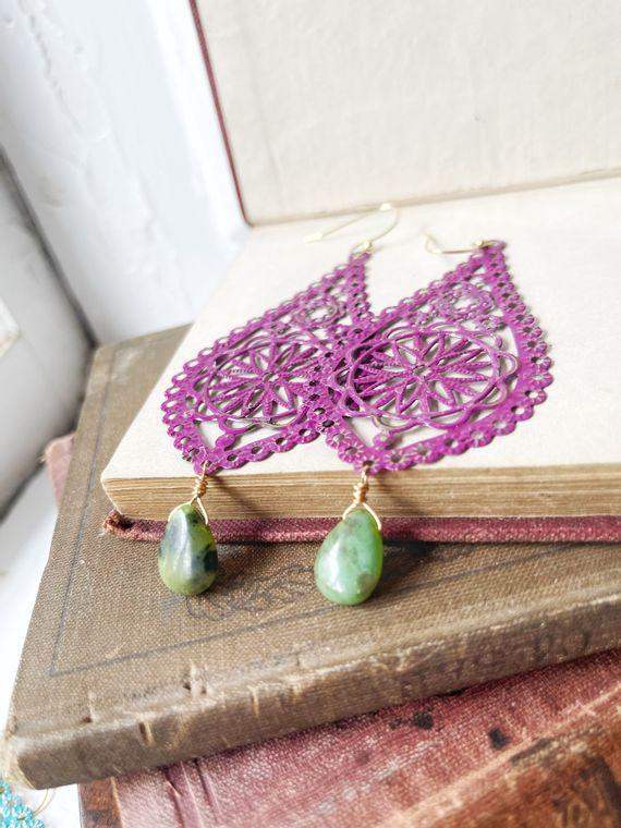 Hand-Painted Raspberry Filigree Earrings with Serpentine