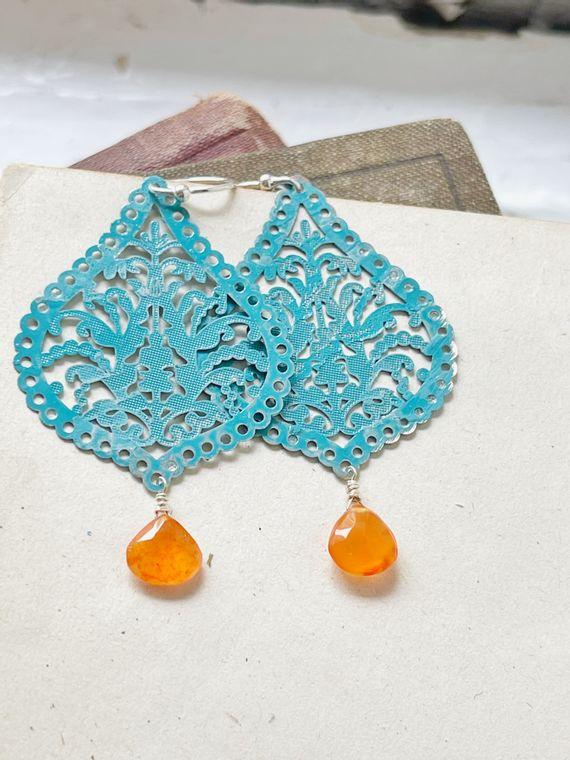 Hand-Painted Turquoise & Carnelian Earrings