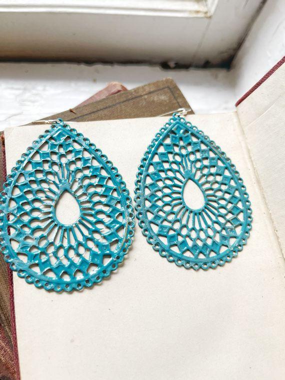 Hand-Painted Turquoise Filigree Earrings
