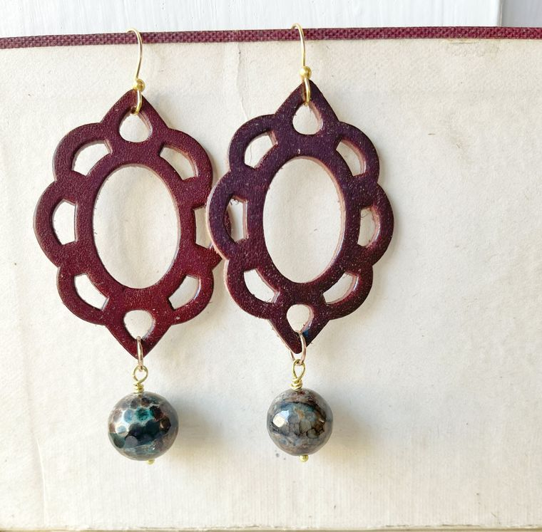 Leather & Agate Earrings