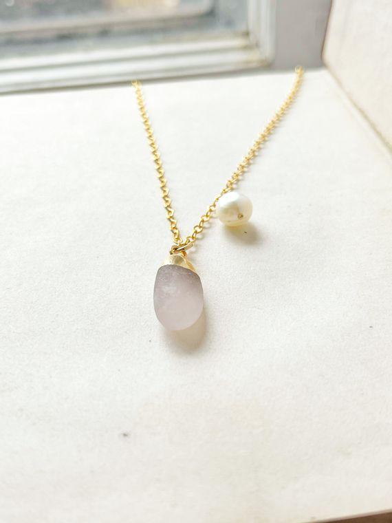 Matte Rose Quartz & Pearl Necklace