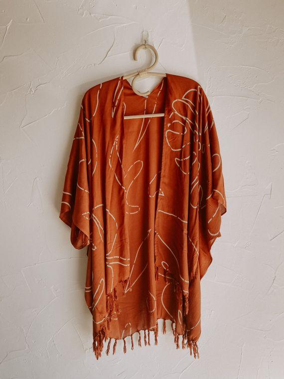 Monstera Kimono in Terracotta