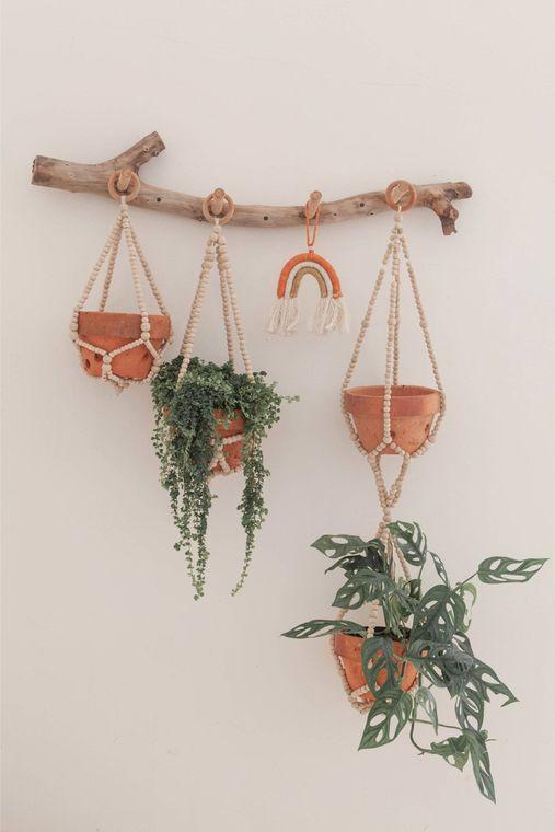 Wooden Beaded Plant Hanger - small