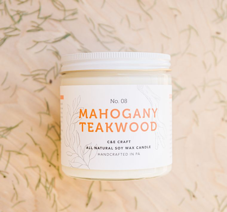 Mahogany Teakwood Scented Soy Wax Candle