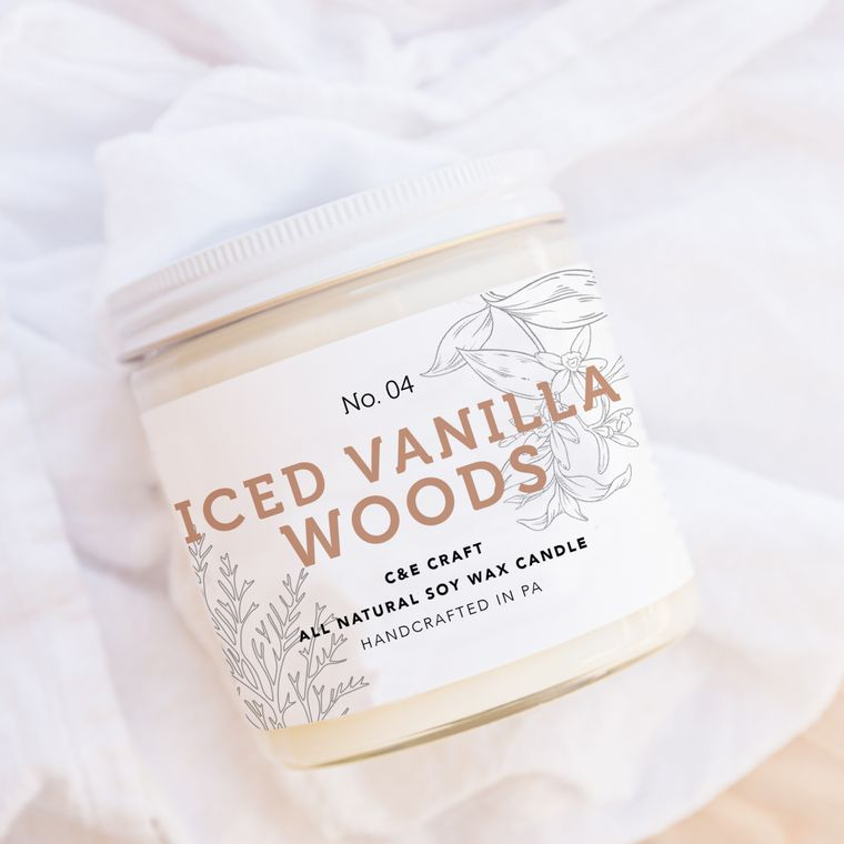 Iced Vanilla Woods Scented Soy Wax Candle