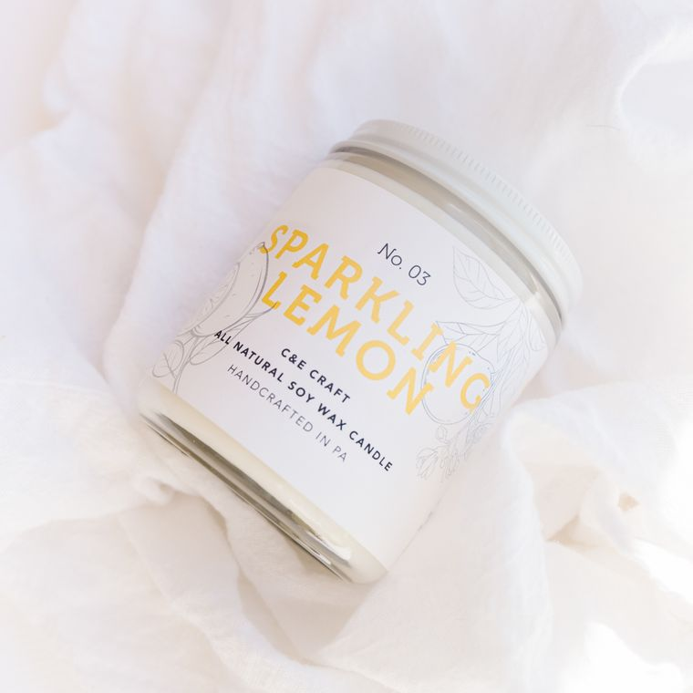 Sparkling Lemon Scented Soy Wax Candle