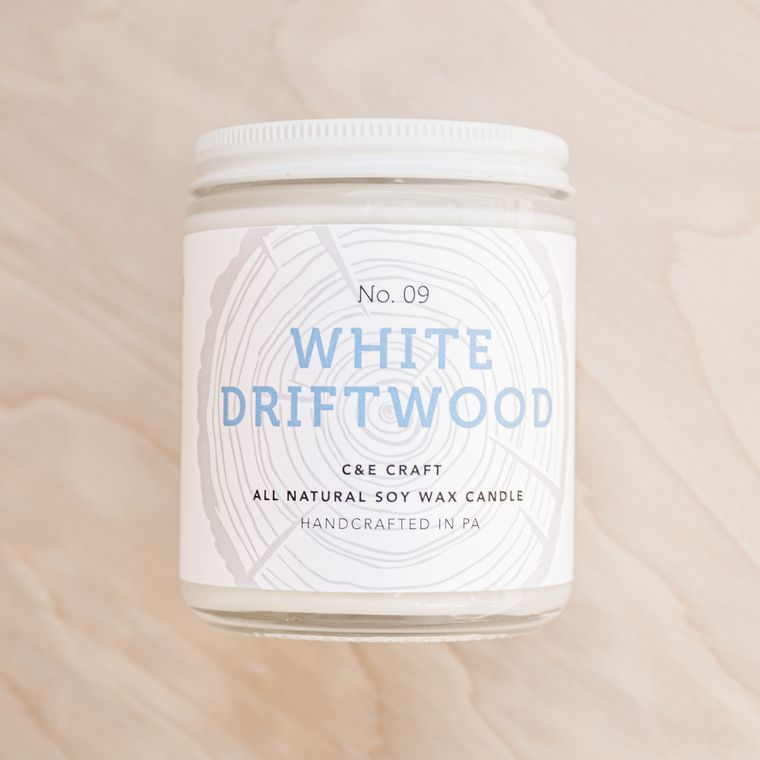 White Driftwood Scented Soy Wax Candle