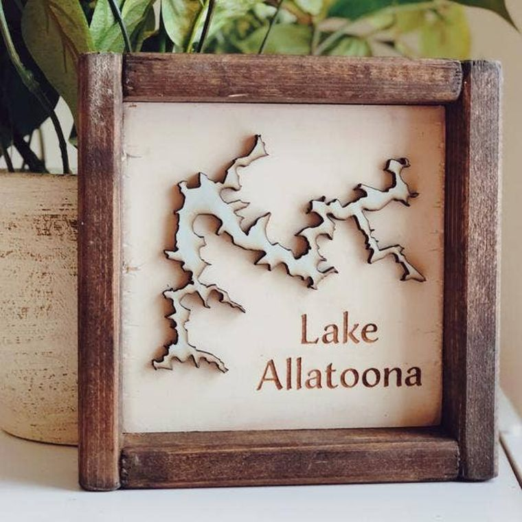 "7 x 7 ""Any Lake"" Name Framed Sign"