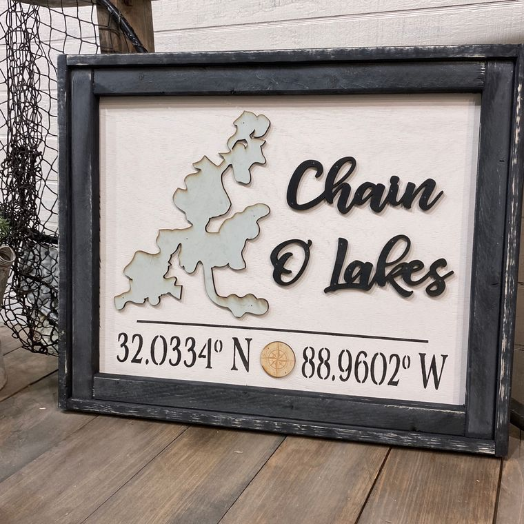"""""""Any Lake"""" Name With Coordinates 21x26"""