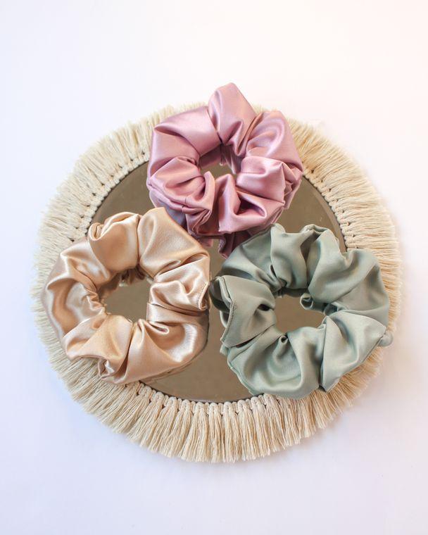 Satin Scrunchies- Sage, Lavender, Sand, Blue