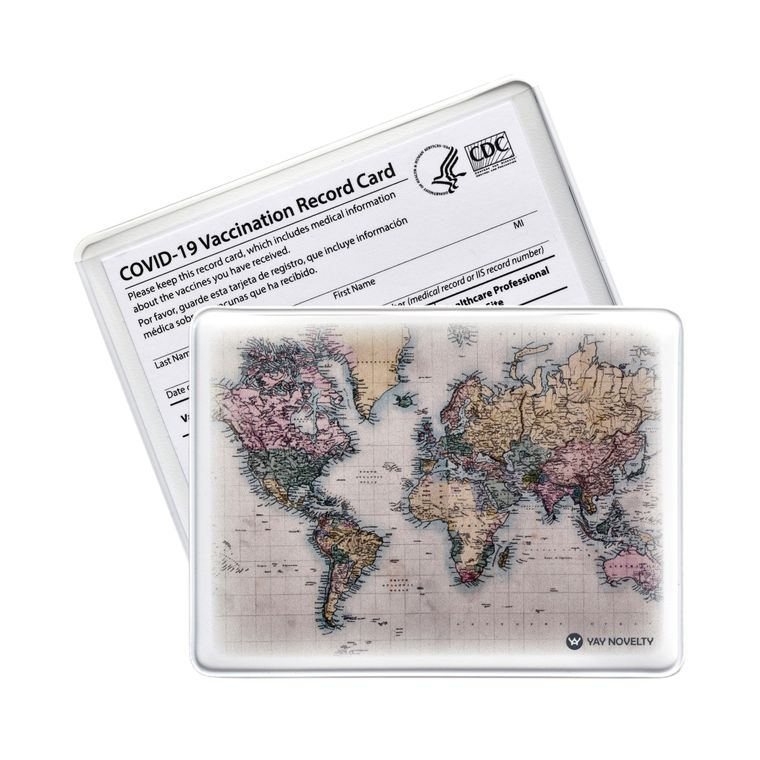 Vaccination Card Holder - Vaccine Card Protector - Made in USA - World Map
