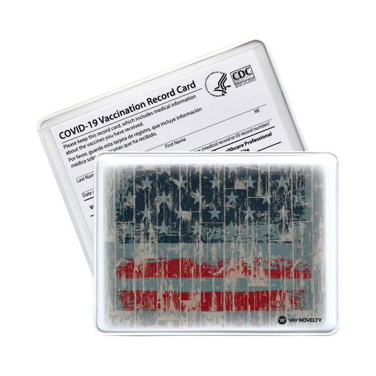 Vaccination Card Holder - Vaccine Card Protector - Made in USA - American Flag