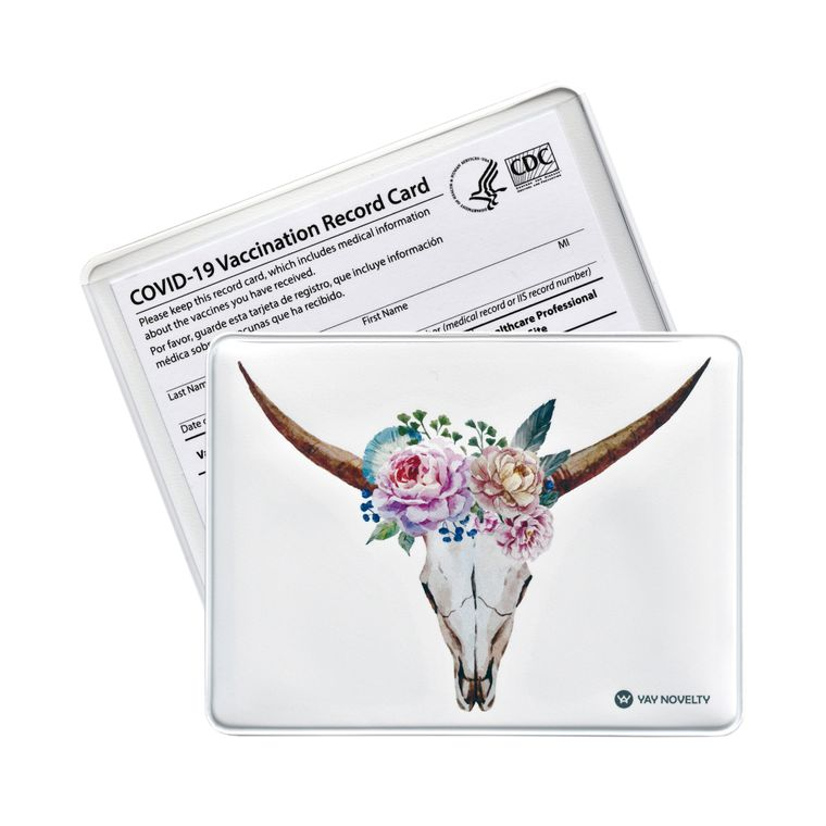 Vaccination Card Holder - Vaccine Card Protector - Made in USA - Bull Horns