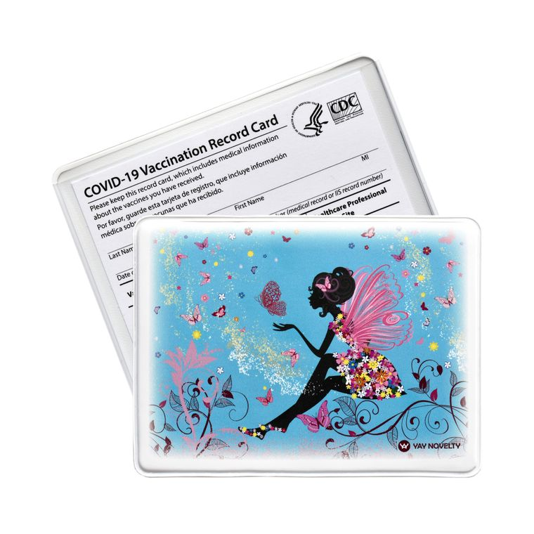 Vaccination Card Holder - Vaccine Card Protector - Made in USA - Butterfly Princess