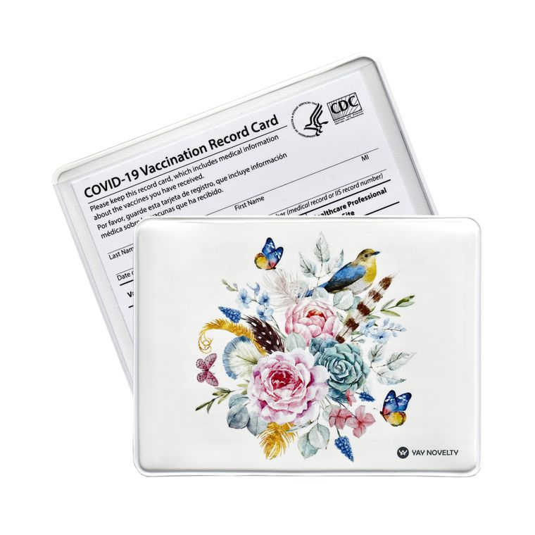 Vaccination Card Holder - Vaccine Card Protector - Made in USA - Flower Bouquet