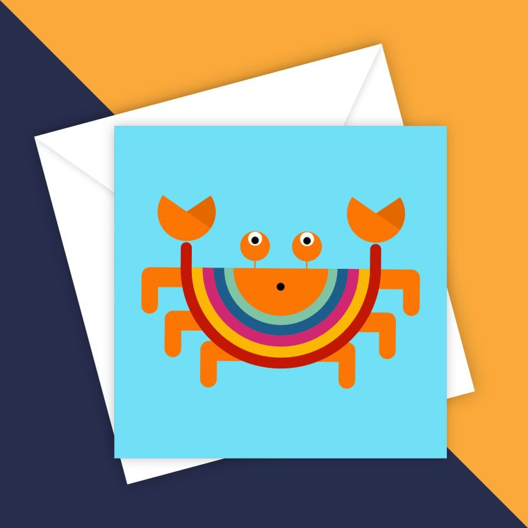 Claude the Sand Crab blank greeting card