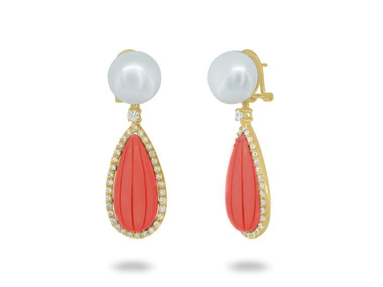 Monaco Pearl & Coral Drop Earrings