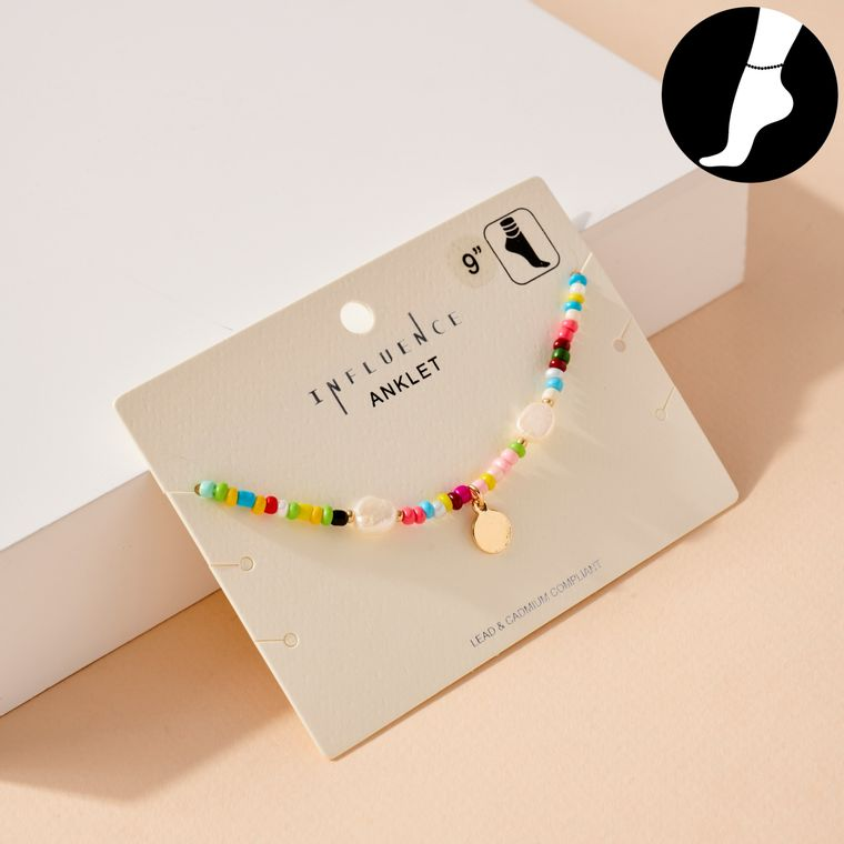 Disc Charm Seed Beaded Anklet
