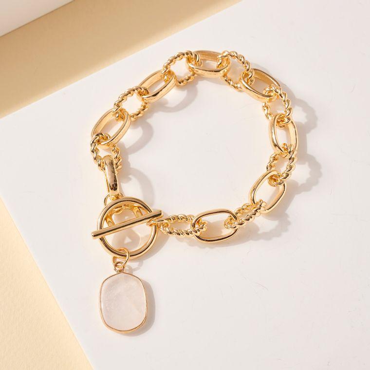Stone Charm Metal Chain Linked Bracelet