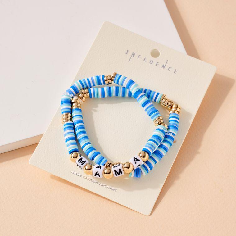 MAMA Rubber Metal Beaded Bracelet Set
