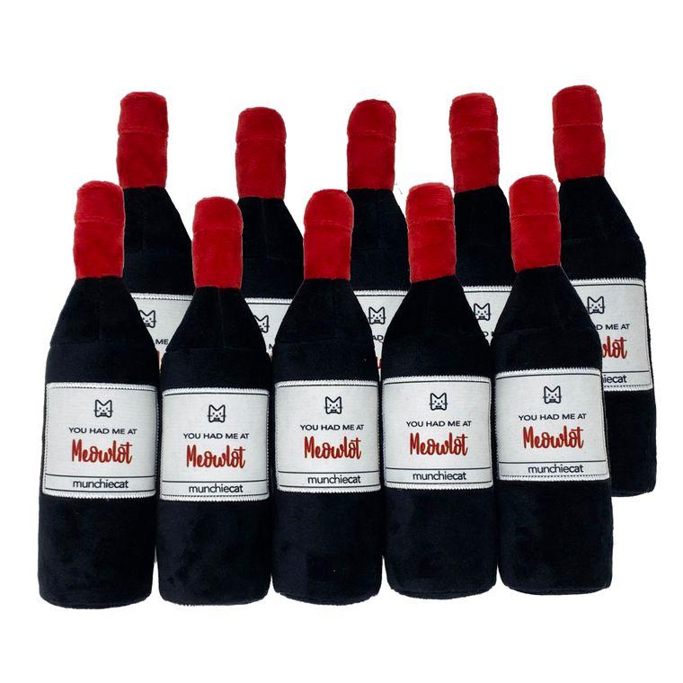 "Munchiecat Catnip Wine Bottles (bulk 10 pc)  8"" Kicker w Crinkle and Rattle"